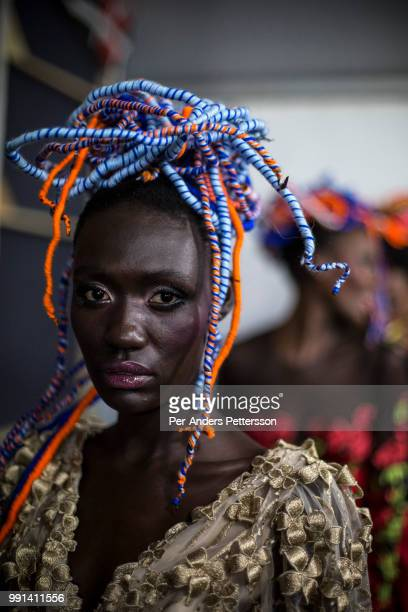 South Sudanese model Anyon Asola waits backstage before a show on August 19 2017 in Mall of Africa north of Johannesburg South Africa African...