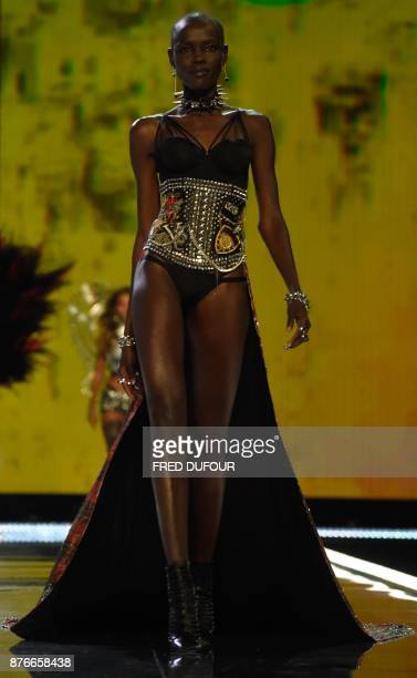 South Sudanese model Grace Bol presents a creation during the 2017 Victoria's Secret Fashion Show in Shanghai on November 20 2017 / AFP PHOTO / Fred...