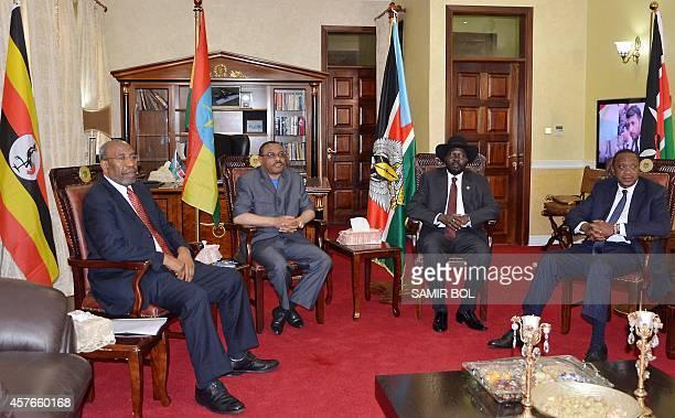 South Sudanese President Salva Kiir meets with Kenyan President Uhuru Kenyatta Ethiopian Prime Minister Hailemariam Desalegn and Ugandan Prime...