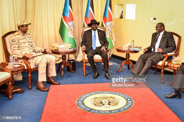 South Sudanese President Salva Kiir South Sudan's opposition leader Riek Machar and Sudan's deputy head of the Transitional Military Council Mohamed...