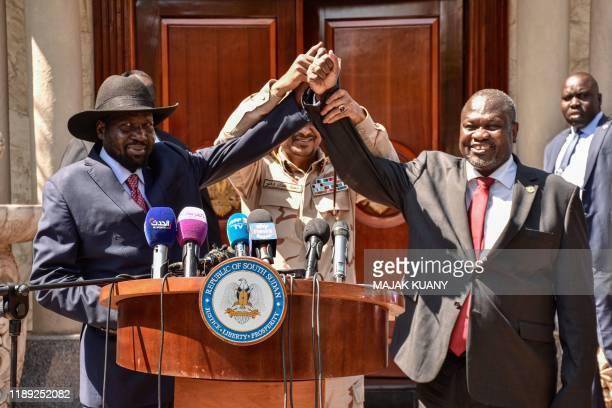 TOPSHOT South Sudanese President Salva Kiir South Sudan's opposition leader Riek Machar and Mohamed Hamdan Daglo Hemeti Sudan's deputy head of the...