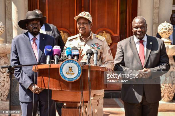 South Sudanese President Salva Kiir South Sudan's opposition leader Riek Machar and Mohamed Hamdan Daglo Hemeti Sudan's deputy head of the...