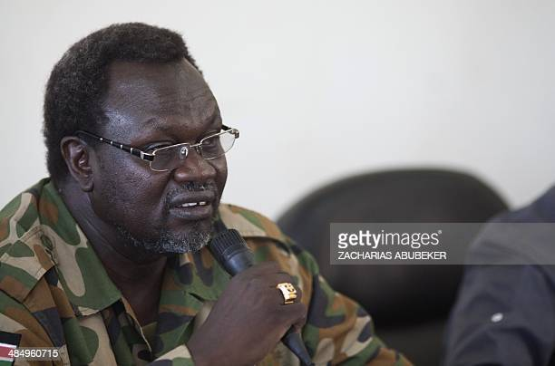 South Sudanese rebel leader and former vice president Riek Machar addresses a meeting of the Sudan People's Liberation Movement in the Upper Nile...