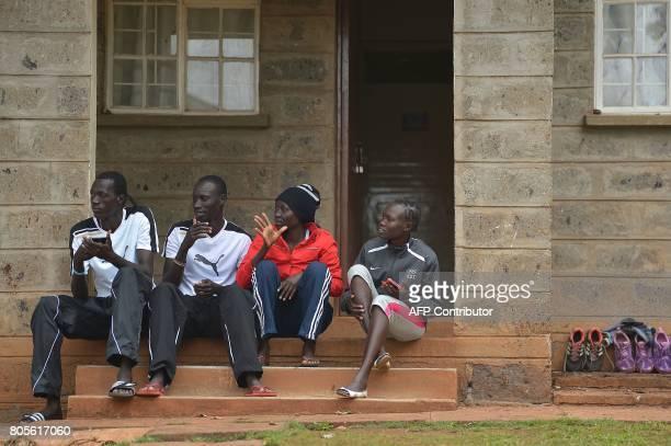 South Sudanese refugee Olympians at the Rio Olympic Games James Nyang Chiengjiek, Anjelina Nada Lohalith and Rose Nathike Lokonyen take a break with...