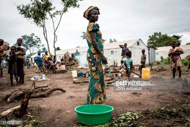 South Sudanese refugee stands inside a refugee settlement camp on May 11 2019 in Biringi after arriving the night before from South Sudan A recent...