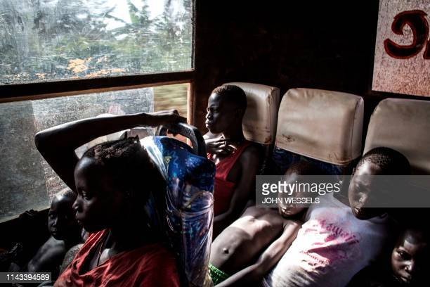 South Sudanese Refugees are transported from the border of South Sudan and the Democratic republic of the Congo to a refugee settlement site on May...