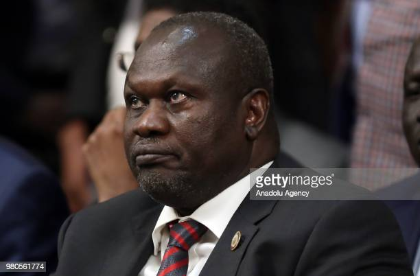 South Sudanese rival Riek Machar attends the meeting by Leaders of the Intergovernmental Authority on Development at an extraordinary summit on...