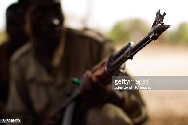 South Sudanese soldiers man a checkpoint in the town of BunjMaban in the Upper Nile Blue Nile state of northeastern South Sudan AfricaThe region...