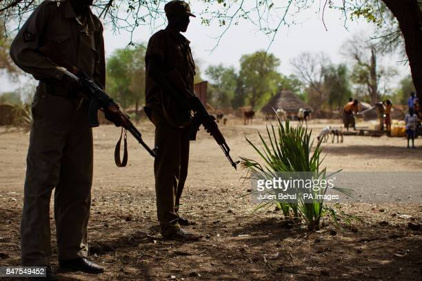 South Sudanese soldiers man a checkpoint near Doro refugee camp in BunjMaban in the Upper Nile Blue Nile state of northeastern South Sudan AfricaThe...