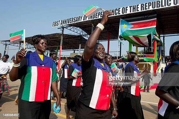 South Sudanese women parade during a ceremony South Sudan's first Independence day on July 9 2012 in Juba South Sudan After breaking away from Sudan...