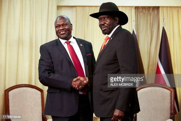 South sudan's exvice president and former rebel leader Riek Machar meets with South Sudan's President Salva Kiir at the presidential office in Juba...
