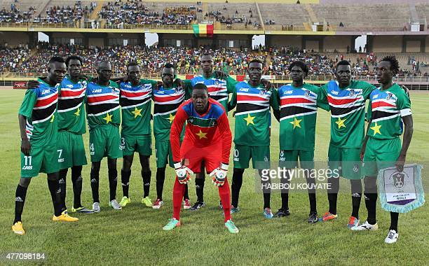 South Sudan's players pose on June 13 2015 in Bamako during their 2017 African Cup of Nations qualification football match between Mali and South...