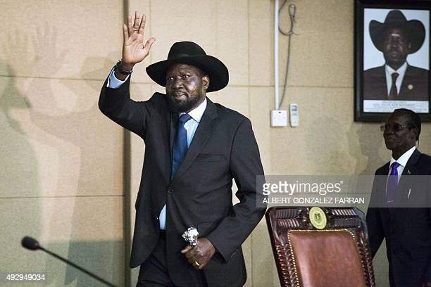 South Sudan's President and chairman of the Sudan People's Liberation Movement Salva Kiir arrives at the SPLM extraordinary meeting at the State...