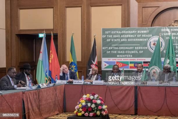 South Sudan's President Salva Kiir African Union Commission Chairman Moussa Faki Ethiopia's Prime Minister Abiy Ahmed and Kenya's President Uhuru...