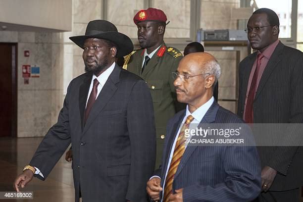 South Sudan's President Salva Kiir walks prior to a meeting on March 3, 2015 in Addis Ababa, as part of the latest round of peace talks to end over...