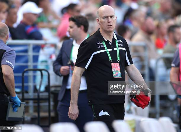 South Sydney Doctor Andrew McDonald looks on during the NRL Elimination Final match between the South Sydney Rabbitohs and the Newcastle Knights at...