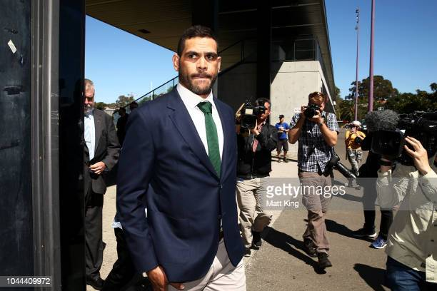 South Sydney Rabbitohs captain Greg Inglis departs after speaking to the media during a press conference at Redfern Oval on October 2 2018 in Sydney...
