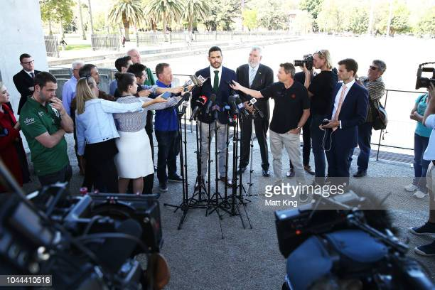 South Sydney Rabbitohs captain Greg Inglis speaks to the media during a press conference at Redfern Oval on October 2 2018 in Sydney Australia Inglis...