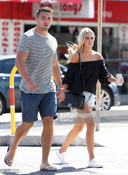 South Sydney Rabbitohs NRL player Sam Burgess and wife Phoebe Hooke are seen in Bondi on April 6 2016 in Sydney Australia