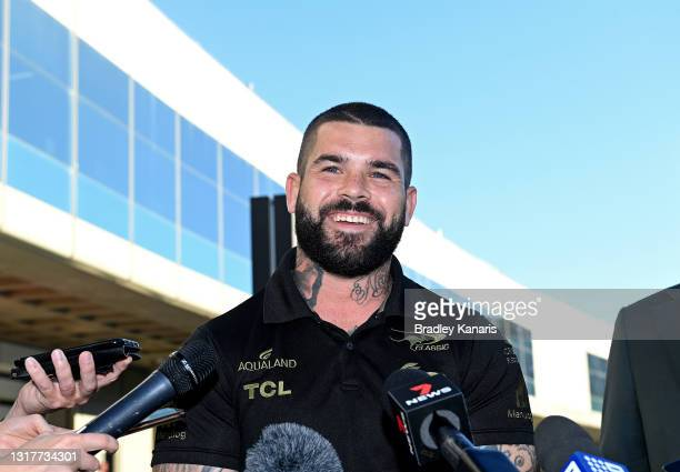South Sydney Rabbitohs player Adam Reynolds speaks to the media at Brisbane Airport on May 13, 2021 in Brisbane, Australia. Reynolds today announced...