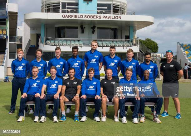 South team at the start of the ECB North v South Series warm up game between South and Barbados XI at Kensington Oval on March 15 2018 in Bridgetown...