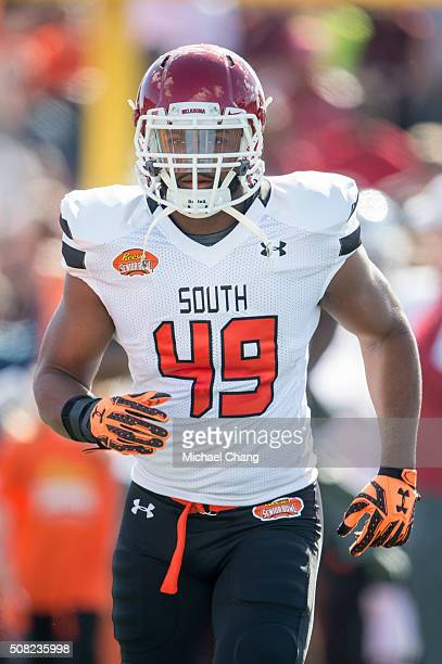 South team's linebacker Eric Striker with Oklahoma on January 30 2016 at LaddPeebles Stadium in Mobile Alabama