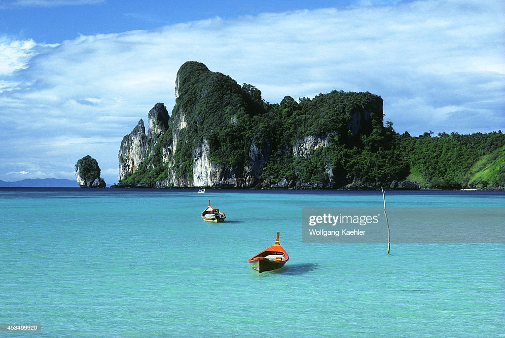 South Thailand, Near Phuket, Phi Phi Island, Fishing Boats... : Fotografía de noticias