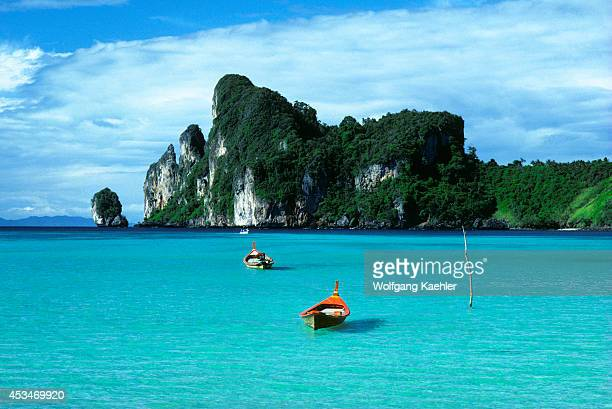 South Thailand Near Phuket Phi Phi Island Fishing Boats With Limestone Mountains
