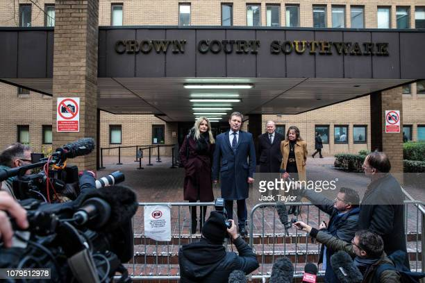 South Thanet MP Craig Mackinlay is joined by his wife Kati Mackinlay as he makes a statement outside Southwark Crown Court on January 9 2019 in...