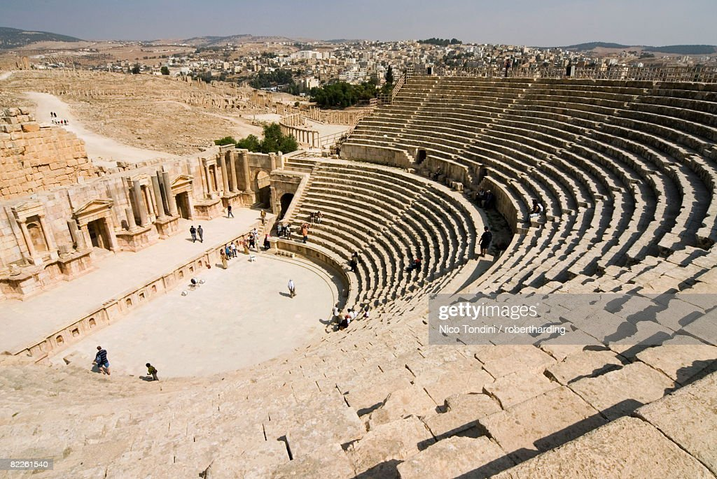 South Theatre, Jerash (Gerasa) a Roman Decapolis city, Jordan, Middle East : Stock Photo