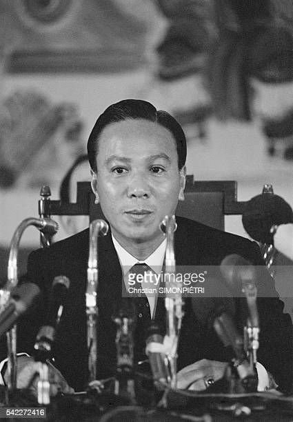 South Vietnam President Nguyen Van Thieu at Press Conference