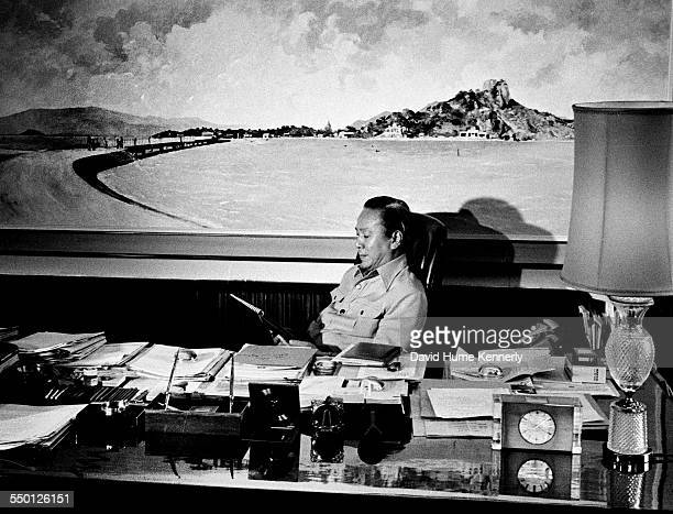 South Vietnamese President Nguyen Van Thieu in his office at the Presidential Palace in Saigon South Vietnam April 3 1975 Thieu was waiting for a...