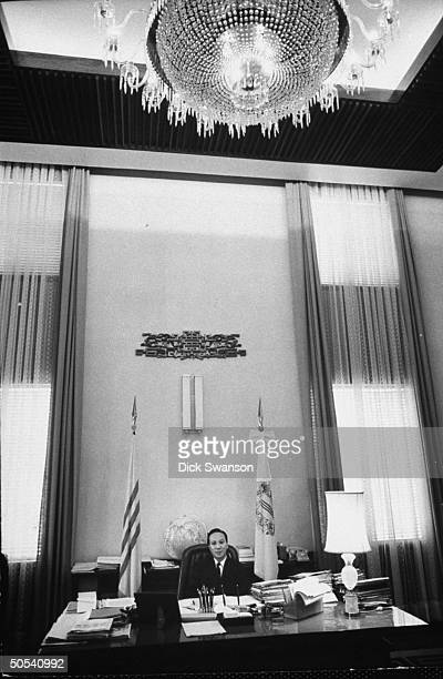 South Vietnamese president Nguyen Van Thieu in his office in Presidential Palace Saigon 1968