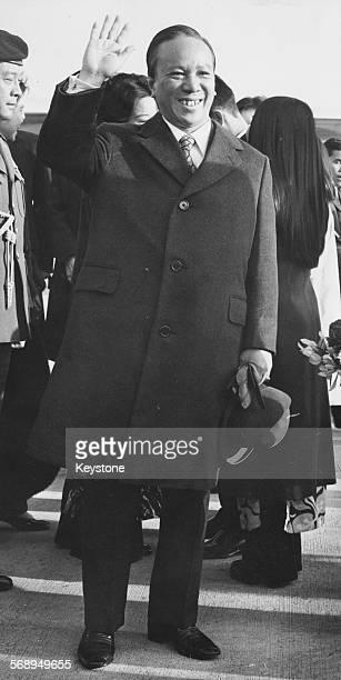 South Vietnamese President Nguyen Van Thieu waving as he arrives at London Airport April 10th 1973