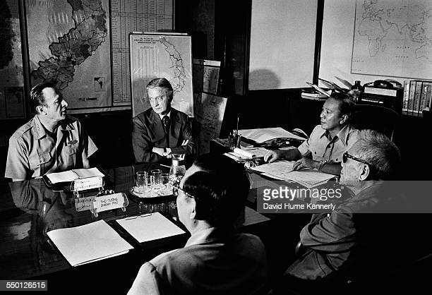 South Vietnamese President Ngyen Van Thieu in his office at the Presidential Palace meets with US Army Chief of Staff General Fredrick Weyand and US...