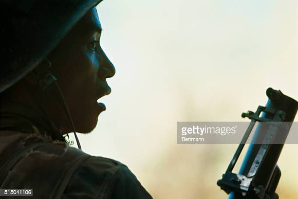 South Vietnamese Ranger in cemetery where he and others fought with Communists for two hours on the fifth day of the countrywide Communist offensive.
