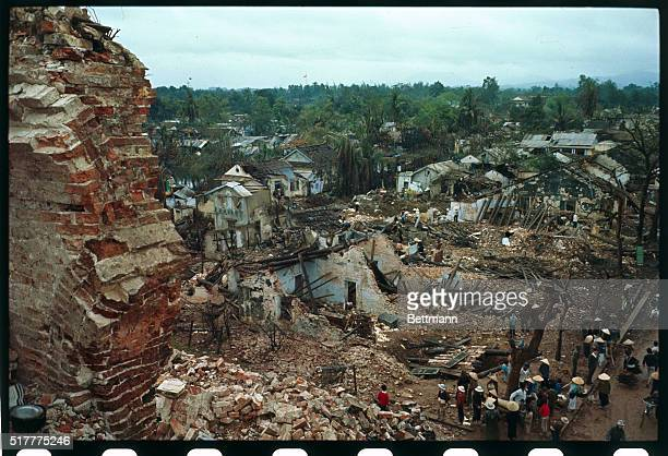 South Vietnamese return to their war-ruined homes following the end of the month long Communist offensive.