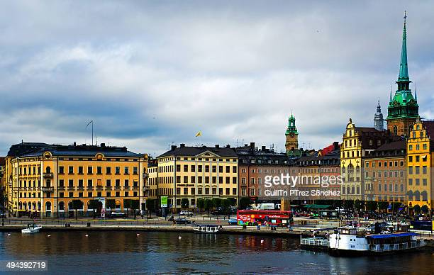 CONTENT] South view of the Stockholm city center Gamla Stan from the bridge that connects it to the island of Södermalm