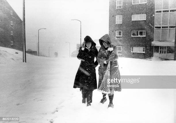 South Wales woke up to blizzards picture shows the scene at Penrhys Estate Rhondda 28th April 1981