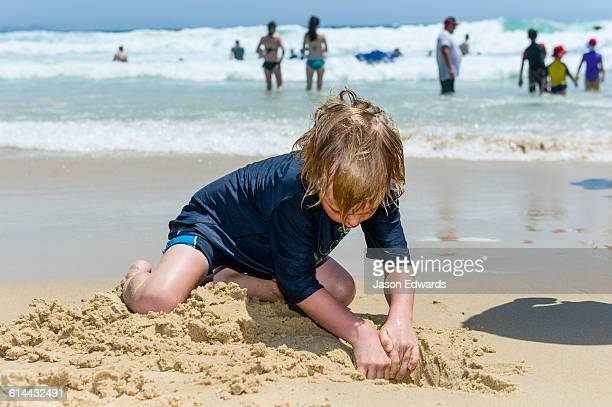 A boy digging in the sand on a beach at low tide.