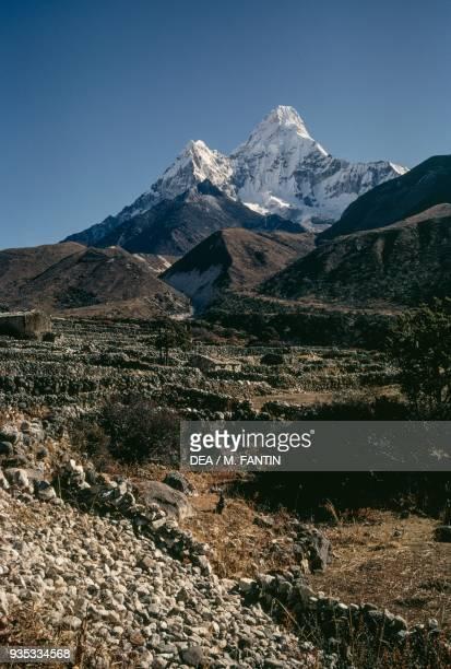 South west slopes of Ama Dablam Sagarmatha national park Himalayas Nepal