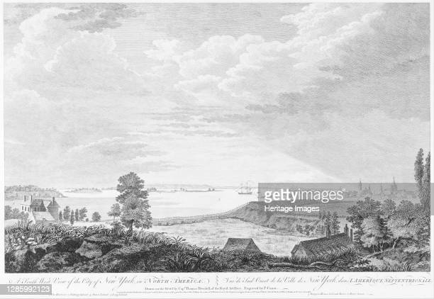 South West View of the City of New York, in North America, circa 1768. Artist Pierre-Charles Canot.