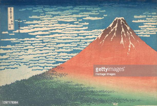 South Wind, Clear Sky , also known as Red Fuji, from the series Thirty-six Views of Mount Fuji , circa 1830-32. Artist Hokusai.