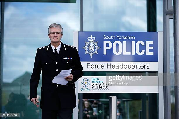 South Yorkshire Police Chief Constable David Crompton makes a statement to the media outside the Force's headquarters on April 26, 2016 in Sheffield,...