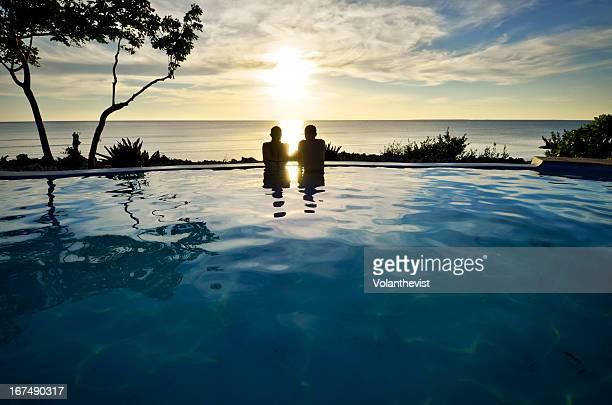 South Zanzibar beautiful sunset at swimmingpool