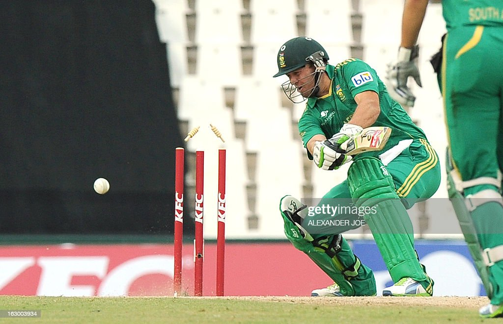 South-African cricketer AB de Villiers is clean bowled off by Pakistan's cricketer Mohammad Irfan (unseen) during a T20 cricket match between South-Africa and Pakistan, in Centurion at SuperSport Park on March 3, 2013.