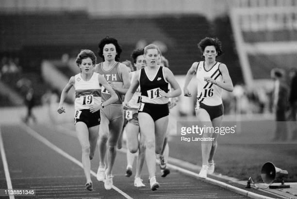 South-African runner Zola Budd and other female athletes running in the women's 1500m event at an athletics meeting held at Crystal Palace, London,...