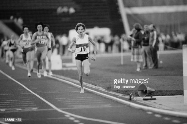 South-African runner Zola Budd running in the women's 1500m event at an athletics meeting held at Crystal Palace, London, UK, 25th April 1984.