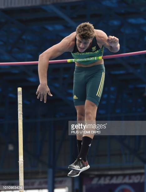 SouthAfrican Wyk Valco jumps to win silver in the Men's Pole Vault final of the African Athletics Championships at the Stephen Keshi Stadium in Asaba...
