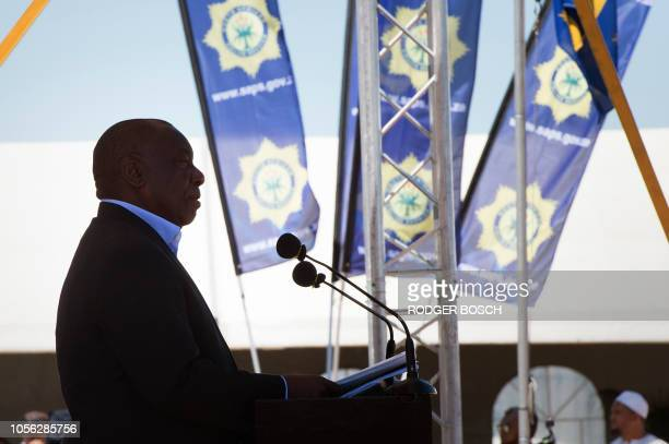 South-Africa's President Cyril Ramaphosa addresses members of South African Police Services , as he came to attend the launch of the new SAPS Anti...